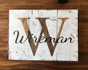 Distressed Monogram Wood Sign, Last Name Sign