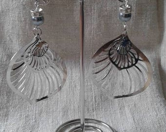 """three silver leaves"" earrings"