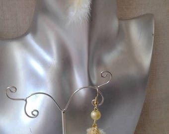 """pretty yellow feather"" earrings"