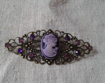 bronze brooch and lovely purple cameo