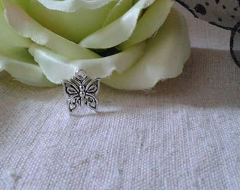 set of 10 small silver Butterfly charm