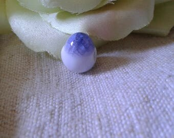 set of 2 Purple and white egg shaped beads, ceramic
