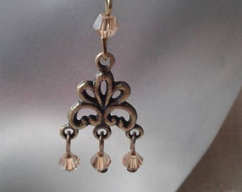 """Earrings """"connector and yellow beads"""""""