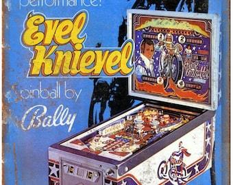 "Bally Pinball Machine Ad Evel Knievel RARE 10"" x 7"" Reproduction Metal Sign D58"