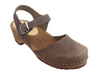 Swedish Clogs Low Wood Dark Taupe Leather Brown Base by Lotta from Stockholm / Wooden Clogs / Sandals / Low Heel / Mary Jane Shoes