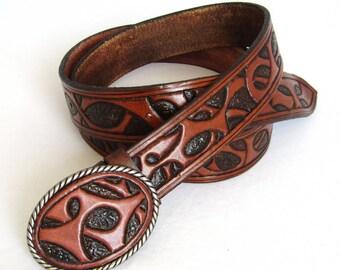 Hand Tooled Leather Belt, leather belt, leather hand-carved belt, sheridan belt, sheridan leather waistbelt, Hand Tooled Leather Belt