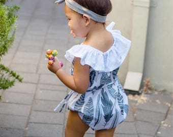 Handmade Embroidery/Feather Girl Romper