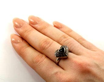 Vintage Onyx Heart Shaped Locket Ring 925 Sterling Silver RG 1367-E