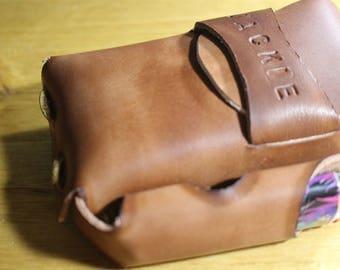 Leather cigarette case with lighter holder