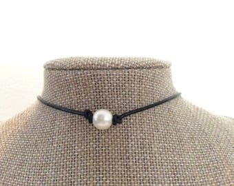 Leather Pearl Choker Leather Pearl Necklace by JL Jewelry & Novelties