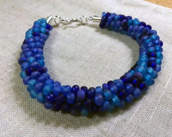Kumihimo Bracelet:  Majestic Blues