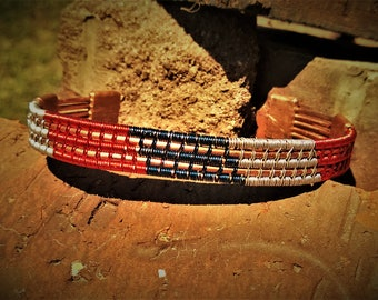 Red, silver and blue 5 wire patriotic cuff bracelet with solid copper frame