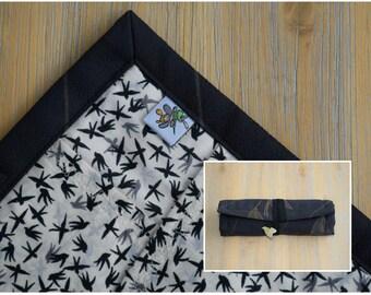 "8 slot kimono silk and cotton penroll ""Black Cranes"""