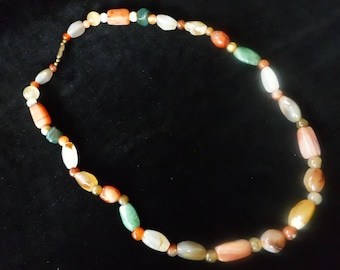 Vintage Agate Stone Bead Necklace
