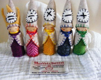 Math Gnomes The Four Processes A Set Of Five Wooden Peg Dolls Waldorf Inspired Craft