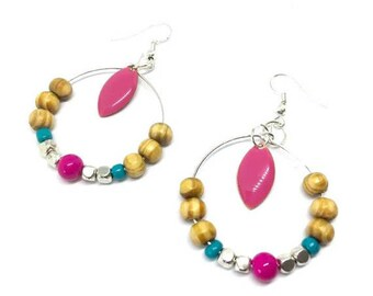"""Turquoise/honey/fuchsia"" silver metal beads hoop earrings"""