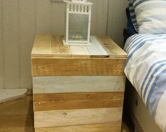 Reclaimed wood bed side table and  storage cube