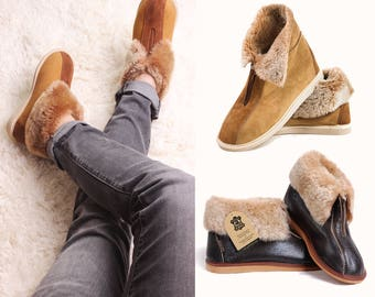 Hand crafted Luxury Mens Womens Genuine Sheepskin Zip Boot Slippers, 100% Fur Lined