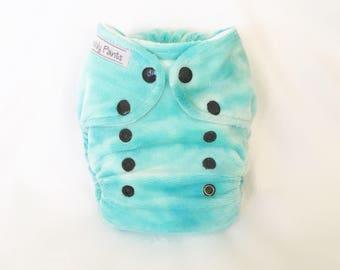 MCN Modern Cloth Nappy - Aqua Tie Dye Minky