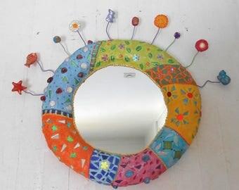 """Planet mirror biodiversity"" mosaic and cheerful painting 50 X 65 cm volume"