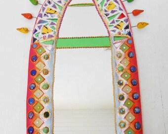 "Mosaic mirror ""Indian summer"" painting joyful 75 cm X 43 cm"