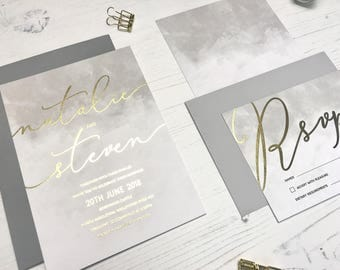 Gold Wedding Invitation - Grey Watercolour Wedding Invitation - Modern Wedding Invite