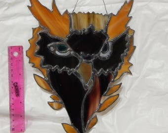 Homemade stained glass owl head