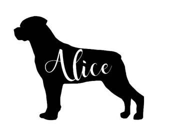 Rottweiler Silhouette Customized Decal Dog Sticker