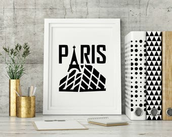 Paris Wall Art, Black And White Art, Paris Art Work, Minimalist Artwork,