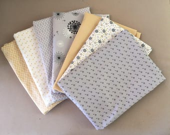 LOT 7 COUPONS 30 x 35 cm grey and yellow patchwork fabric