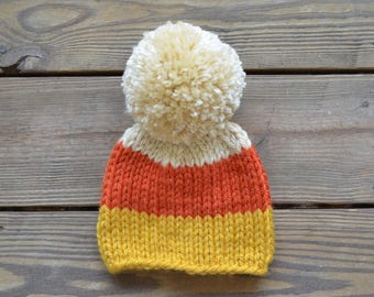 Toddler Hats for Girls, Fall Hats, Candy Corn Hat, Gifts for Girls Baby Hats Pom Pom Hats, Baby Hats for Girls, Children's Hats, Baby Beanie