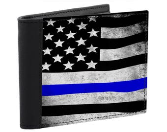 Men's Leather Wallet Thin Blue Line USA Flag Wallet Stars and Stripes Made in USA American Flag Patriotic Police Gift Leather Bill fold