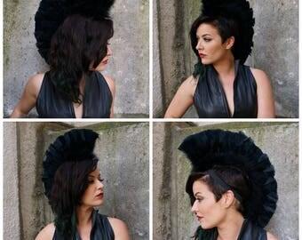 Black Feather Mohawk Headdress