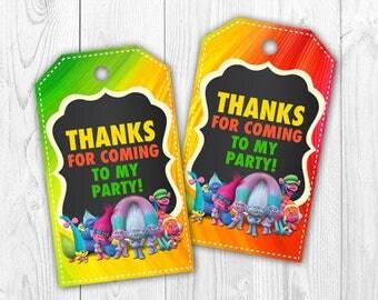 Trolls Thank You Tags, Trolls Favor Tags, Trolls Party Decoration, Trolls Printable - PDF