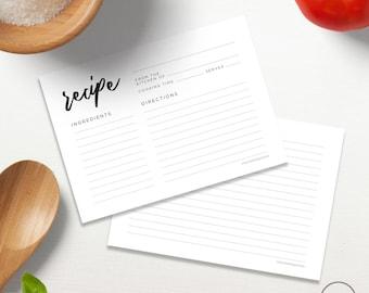 Simple Minimalist DIY Recipe Card Printable, Bridal Shower Cards, Recipe binder, Recipe Planner, Recipe 5x7 4x6 INSTANT DOWNLOAD