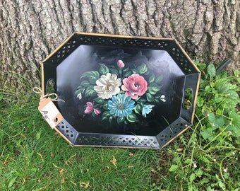 Vintage Tole Tray Large Hand Painted Reticulated Black Nashco New York Floral Pretty Aged Patina and Practical For Your Tea Party Serving