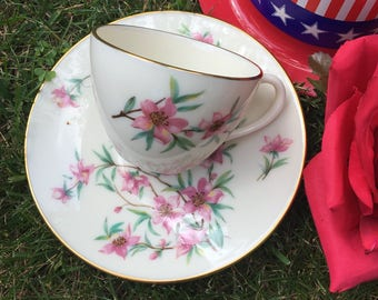 Lenox Teacup and Saucer Set Vintage Demitasse Small Size Flowers Peach Tree Blossoms Gold Pretty for Your Little Tea Drinker or Espresso Use