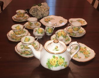 Yellow Tea Rose All England by Royal Albert Tea Set for Six Excellent Vintage with XL Teapot 25 Pieces Free Shipping in USA