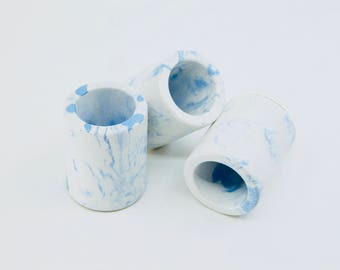 White and blue marbled concrete mini pots TRIO, set of 3 mini concrete vessels, succulent planters, marbled concrete cactus pots