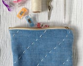 Blue zipper  pouch - coin...