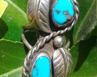 Vintage Native American Sterling Silver and Sleeping beauty Turquoise Ring Size 4.5