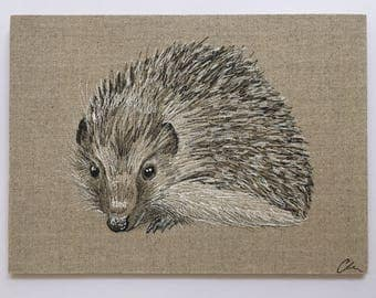 Hedgehog on Linen Board