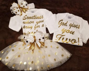 Twins, Twin Girls, Twin Boys, Girl Boy Twin, Baby Shower, Coming Home, Going Home Outfits, Can Be Done In Any Combination