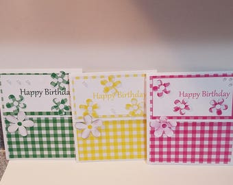 Set of 6 handmade tri fold cards/birthday cards/gift box/pink/yellow/green/greeting cards/birthday cards/cards/flower/birthday/plaid/crafts