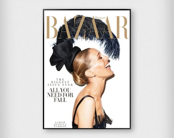 Harper's Bazaar Cover Print | Fashion | Black - White - Gold | Photography - Sarah Jessica Parker - Poster