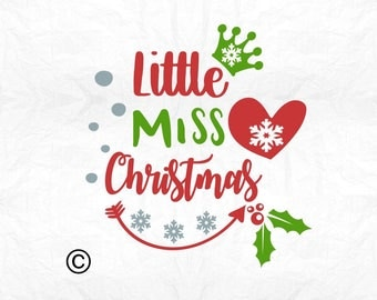 Little miss Christmas SVG Clipart Cut Files Silhouette Cameo Svg for Cricut and Vinyl File cutting Digital cuts file DXF Png Pdf Eps