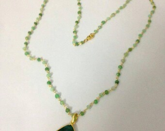 Rosary necklace , emerald necklace , long necklace , pendant necklace ,green color necklace , natural stone necklace , gemstone necklace