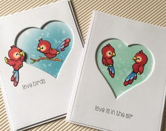 2 in1,Love birds, love cards , handmade , distress inks, stamps , alcoholic markers