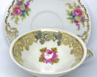FREE SHIPPING - Cheeky China, CUSTOM!! White, Gold, and Pink Lace Pattern Tea Cup & Saucer