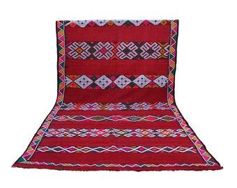 "Vintage Kilim Morocco ""Warda"" Red 190 x 388 cm"